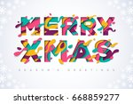 merry christmas typography... | Shutterstock .eps vector #668859277
