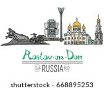 set of the landmarks of rostov... | Shutterstock .eps vector #668895253
