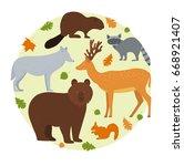 forest animals. vector... | Shutterstock .eps vector #668921407