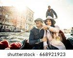 happy couple on romantic... | Shutterstock . vector #668921923