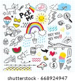 set of colorful doodle on paper ... | Shutterstock . vector #668924947