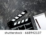 work table of producer. movie... | Shutterstock . vector #668942137