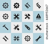 set of 16 editable mechanic... | Shutterstock .eps vector #668952667