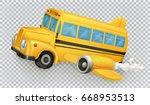 school bus  airplane. 3d vector ... | Shutterstock .eps vector #668953513