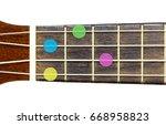 Small photo of ukulele chord Ab minor 6 or Abm 6 on white background, isolate