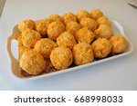 breaded meatballs.how to eat a... | Shutterstock . vector #668998033