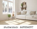 white room with sofa and winter ... | Shutterstock . vector #669006097