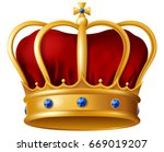 golden imperial crown with red... | Shutterstock .eps vector #669019207