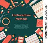 cartoon contraception method... | Shutterstock .eps vector #669022987