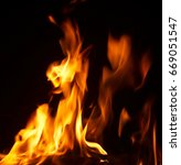 fire flames with sparks on... | Shutterstock . vector #669051547