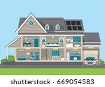 modern home design exterior and ... | Shutterstock .eps vector #669054583