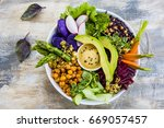 buddha bowl  healthy and... | Shutterstock . vector #669057457
