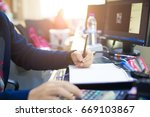 business man pointing stock... | Shutterstock . vector #669103867