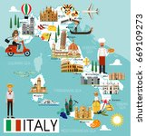 map of italy and travel icons... | Shutterstock .eps vector #669109273