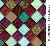 leather patchwork background 3d ... | Shutterstock . vector #669115117