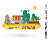 flat design  welcome to vietnam ... | Shutterstock .eps vector #669131713