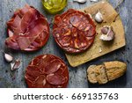high angle shot of some plates... | Shutterstock . vector #669135763