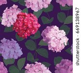 seamless pattern of hydrangea... | Shutterstock .eps vector #669138967