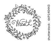 vector illustration wreath with ... | Shutterstock .eps vector #669140443