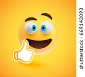 high detailed yellow smiley... | Shutterstock .eps vector #669142093