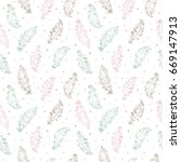 hand drawn feathers and specks  ... | Shutterstock .eps vector #669147913