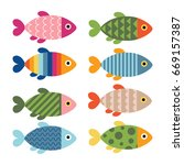 Set Of Colorful Fishes. Vector...