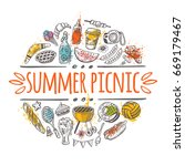 summer picnic concept design.... | Shutterstock .eps vector #669179467