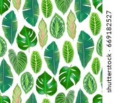 seamless tropical pattern with... | Shutterstock .eps vector #669182527