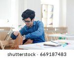 modern young student looking... | Shutterstock . vector #669187483