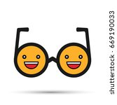 smiley face. round sunglasses... | Shutterstock .eps vector #669190033