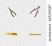 realistic plumb ruler ... | Shutterstock .eps vector #669194287
