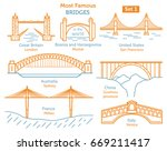 most famous bridges in the... | Shutterstock .eps vector #669211417