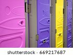 colorful public bathrooms on... | Shutterstock . vector #669217687