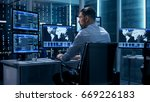 technical controller working at ... | Shutterstock . vector #669226183