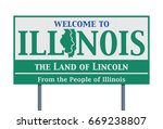 welcome road sign of the state... | Shutterstock .eps vector #669238807