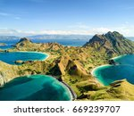 aerial view of pulau padar... | Shutterstock . vector #669239707