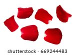 set of red rose petals isolated ... | Shutterstock . vector #669244483
