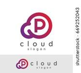 cloud initial letter p logo...