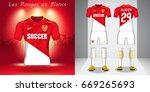set of soccer kit or football... | Shutterstock .eps vector #669265693