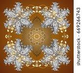 brown simple seamless christmas ... | Shutterstock . vector #669266743