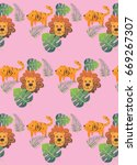 tiger and lion pattern | Shutterstock .eps vector #669267307