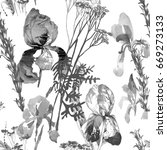 watercolor monochrome irises... | Shutterstock . vector #669273133