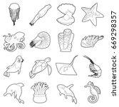 ocean animals fauna icons set.... | Shutterstock .eps vector #669298357