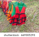 life jackets  bright colors... | Shutterstock . vector #669305293