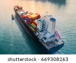 aerial view of container ship...