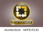 gold shiny emblem with recycle ... | Shutterstock .eps vector #669315133