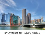 a view of the boston harbor... | Shutterstock . vector #669378013