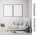 mock up poster frame in... | Shutterstock . vector #669394663