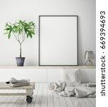 mock up poster frame in hipster ... | Shutterstock . vector #669394693