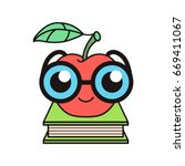 curious nerdy red apple in... | Shutterstock .eps vector #669411067